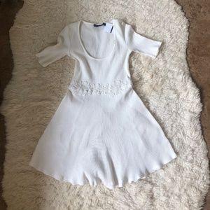 For Love and Lemons Ribbed Ivory Dress